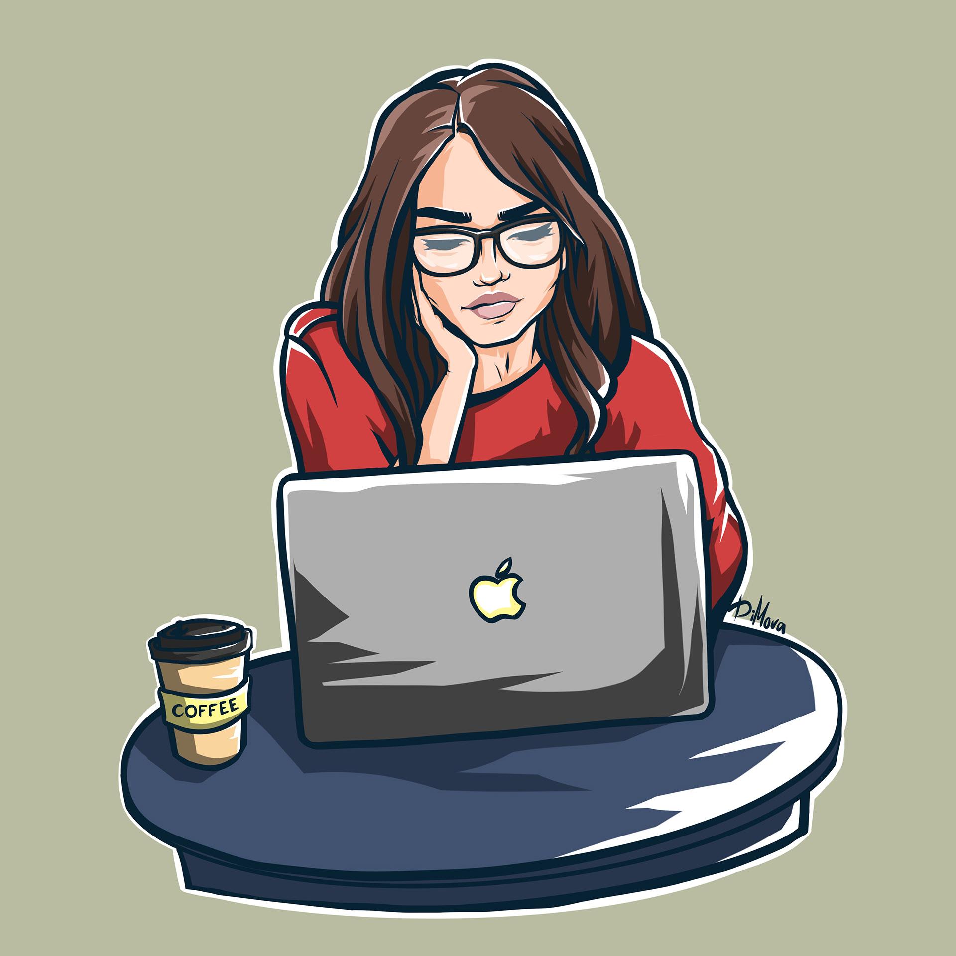 Картинки девушек за компьютером нарисованные